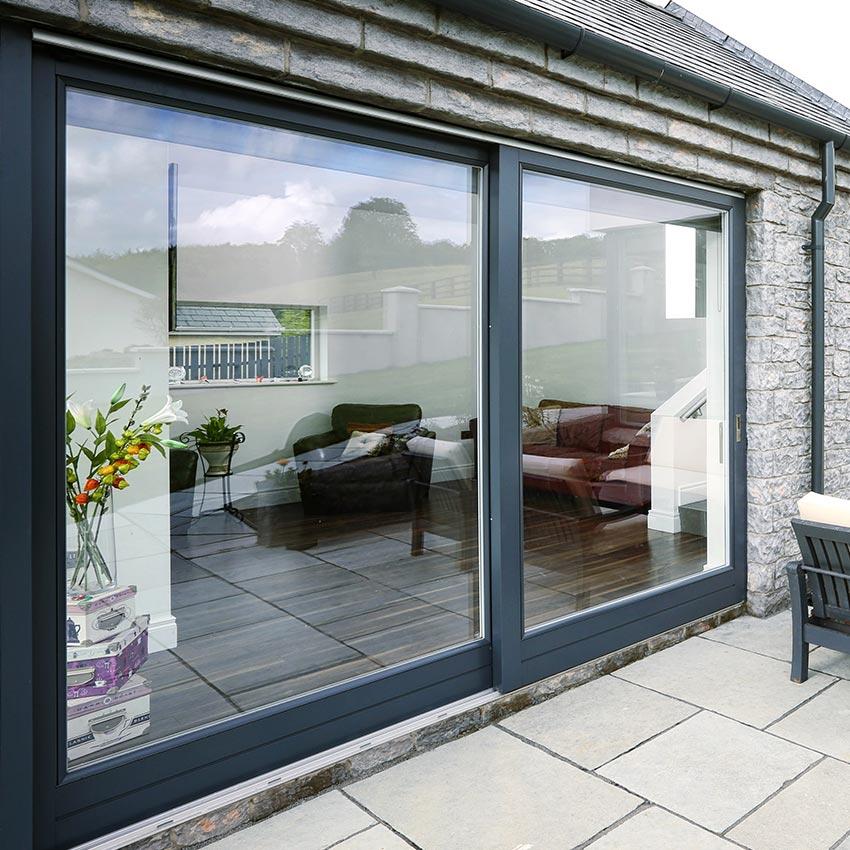 Patio sliders p s counter windows for Black upvc patio doors