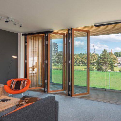 timber bifold door folded