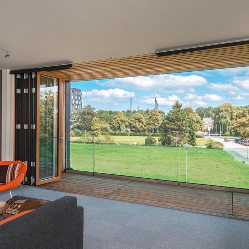 timber bifold door open