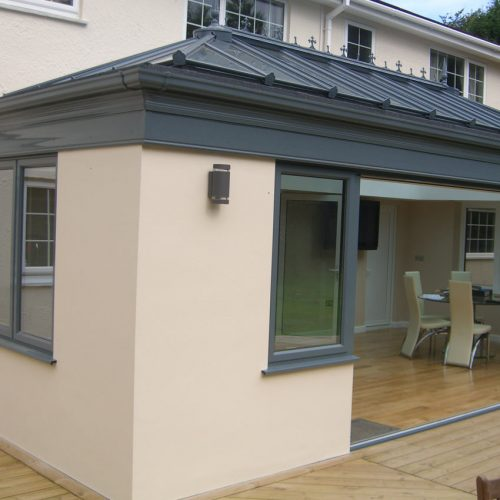 Orangery With Grey Bifold Door