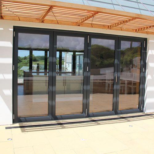 Black aluminium bifold door