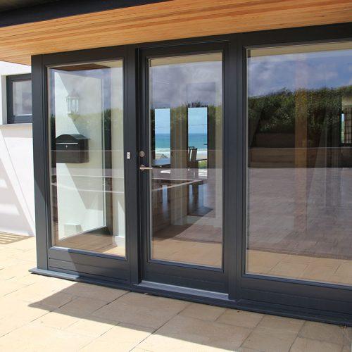 Black aluminium double glazed door