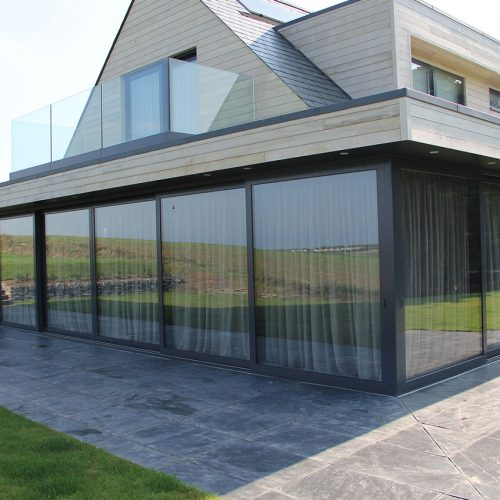 Black aluminium wide patio door
