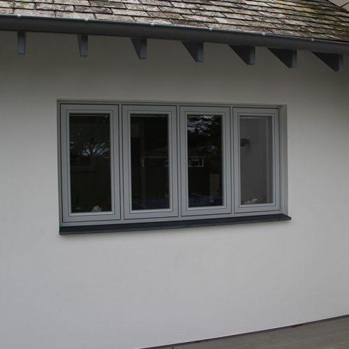 Grey flush sash casement window