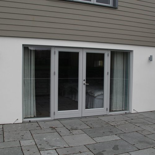 Grey french door installation