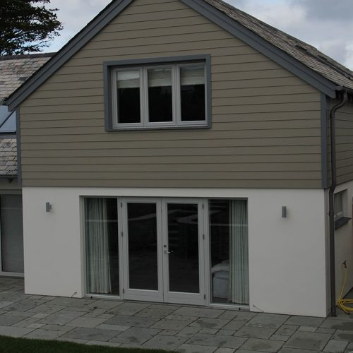 Grey flush sash casement windows and door installation