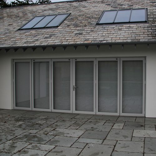 Wide grey bifold door installation