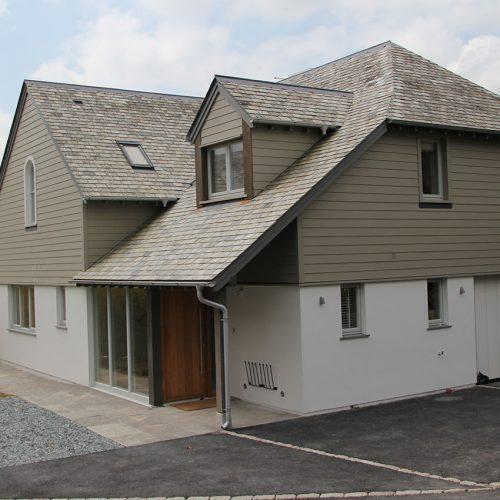 Grey flush sash casement windows and door installation